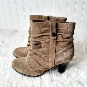 BCBG Brown Suede Leather Slouch Heeled Boots